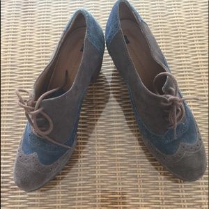 Anthropologie Size 7.5 suede upper brown and blue